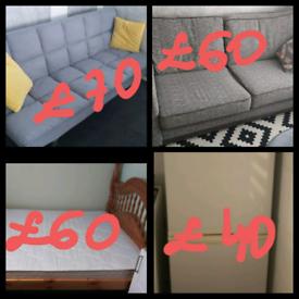 Sofa bed .sofa dfs.fridge freezer .king size wooden bed