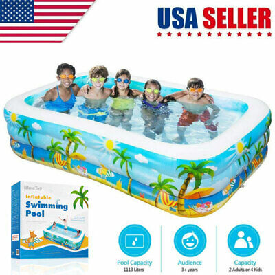 Large Inflatable Swimming Pool Kids Water Play Fun For Family Children Adults US ()