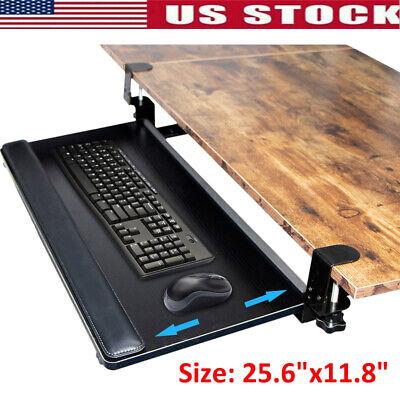 Computer Keyboard Mouse Under-desk Drawer Black Tray Sliding Mount 25.6x11.8