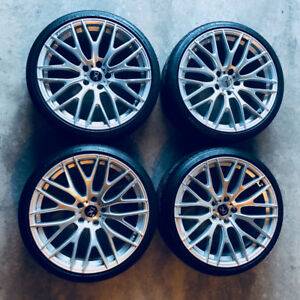 """Set of 19"""" Bright Silver Alloy 10 Y-Spoke Wheels with Tires"""