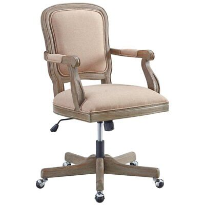 Linon Maybell Vintage Swivel Office Chair In Natural And Rustic Brown