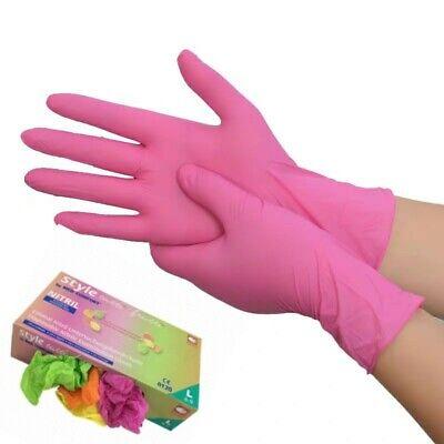 100 Disposable Nitrile Gloves Powder Free Latex Free Pinkorangeyellowgree M