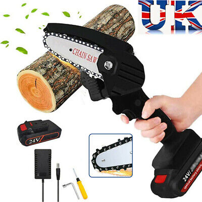 Cordless Electric Chain Saw Wood Cutter 550W One-Hand Saw Woodworking + Battery