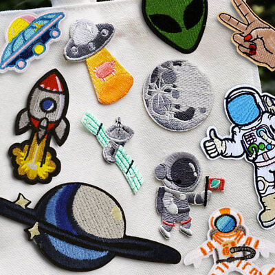 Space Astronaut UFO Embroidered Sew On Iron On Patch Badge Fabric Craft - Space Crafts