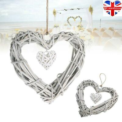 Hanging Natural White Wicker Hearts Large&Small Shabby Chic Willow Home Wedding