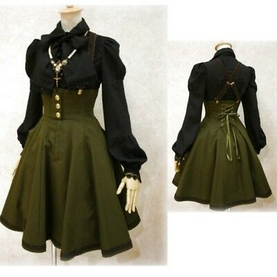 Sexy Women Victorian Gothic Suspender Skirt Back Lace Up Dress Halloween - Halloween Dress Ups