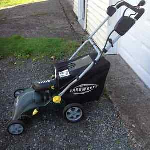 Electric lawn vac for leaf and grass clean up.