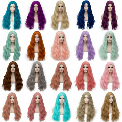 Women Fashion Anime Long Curly Wavy Hair Party Cosplay Fluffy Full Wig Lolita US