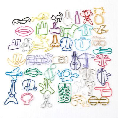 1012x Cartoon Shape Bookmark Metal Binder Paper Clips Clamp School Stationery