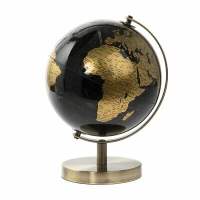 27cm Black Gold World Globe Vintage Rotating Atlas Office Ornament Home