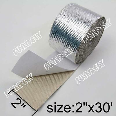 """2"""" x 30' Adhesive Backed Heat Shield Wrap Tape For Car Intake Intercooler Pipe"""
