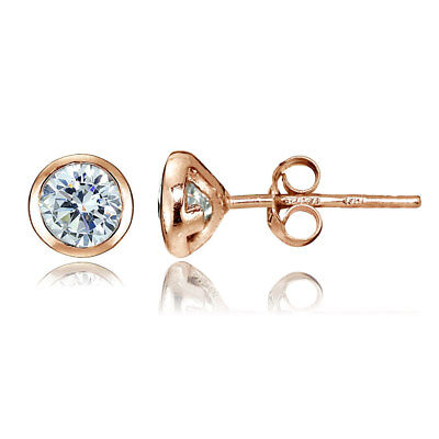 Rose Gold Tone Over Sterling Silver CZ Bezel Set Martini Set Stud Earrings Bezel Set Stud Earrings