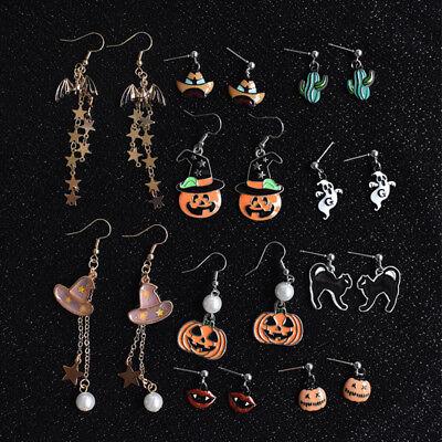 New Happy Halloween Pumpkin Pierced Earrings Cute Party Spooky Scary - Happy Spooky Halloween