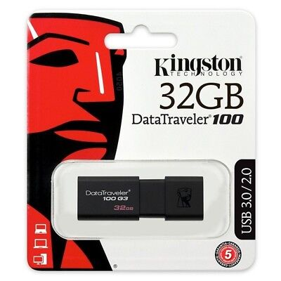 NEW 32GB KINGSTON USB 3 DataTraveler100 Flash Memory Drive Stick FACTORY SEALED