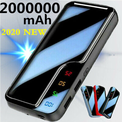 NEW Huge Capacity 2000000mAh Portable Power Bank 2 USB LED Fast Battery Charger