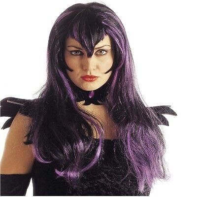 Hexe Damen Perücke Samantha  Vampir Zombie Halloween Kostüm LILA  #6155