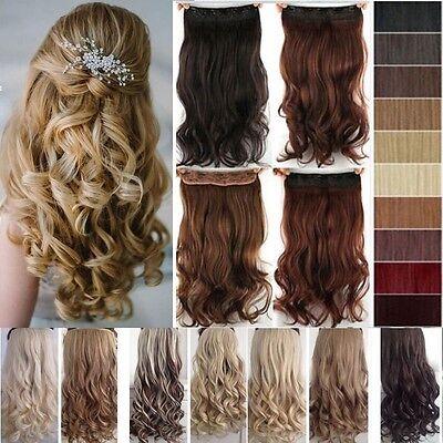 Clip in Haarverlängerung Haarteil Synthetische Haare 40-75cm lockig Grau Blond