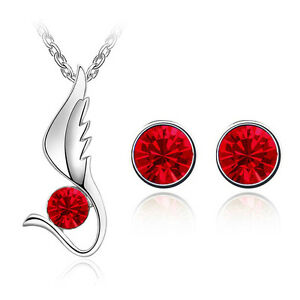 Rosso-Set-Gioielli-Ali-D-039-angelo-Orecchini-A-Lobo-Con-Diamante