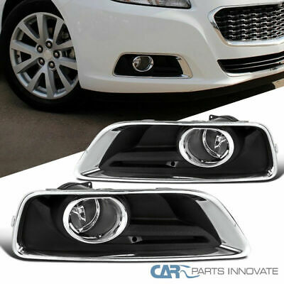Chevrolet Malibu Fog Light Lamp - Chevy 13-15 Malibu Clear Bumper Fog Lights Driving Lamps Pair w/ Bezel+Switch