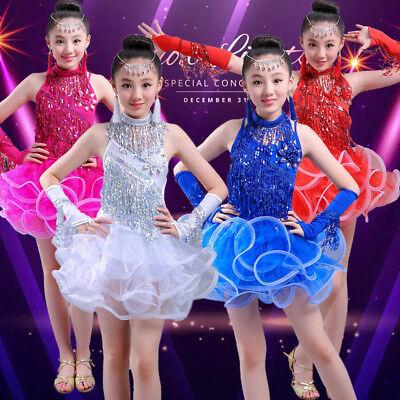 Girls Ballroom Salsa Cha Cha Dance Competition Costume Latin Skirt for Kid