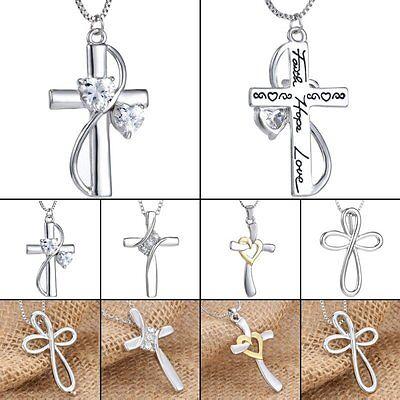 Cross Crystal Women Men Unisex Necklace Pendant Chain Silver
