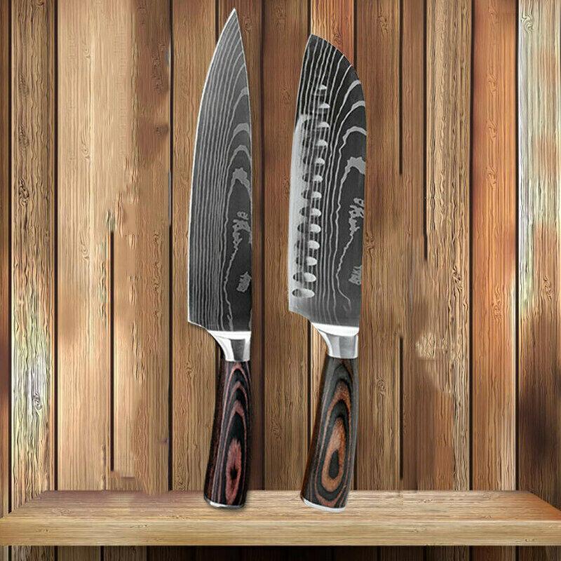 2 Stück Küchenmesser Set Edelstahl Damaskus-muster Scharfes Santoku Kochmesser