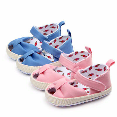 Baby Girls Summer Sandals First Walker Shoes Soft Crib Sole Newborn Prewalkers