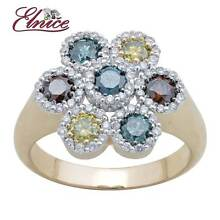 1.27CT GENUINE  MULTI COLOURED DIAMOND RING 9CT YELLOW GOLD NEW Wollongong Wollongong Area Preview