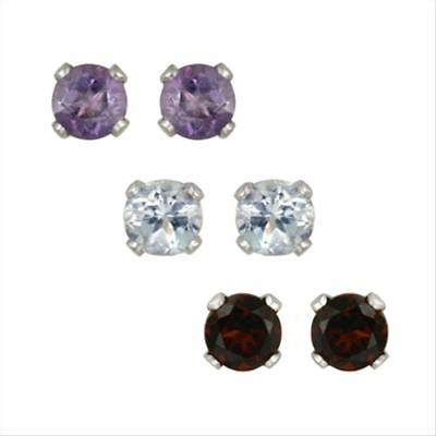 925 Silver 3mm Amethyst, Blue Topaz, Garnet Stud Earrings Set