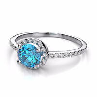 1.00 CTW FANCY BLUE HALO DIAMOND ENGAGEMENT RING