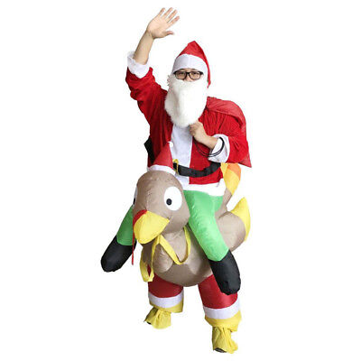 Santa Claus Ride On Turkey Inflatable Costume Christmas Costumes Santa Father](Inflatable Christmas Turkey Costume)