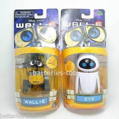 Set of 2 pcs Disney Pixar Wall-E and Eee-Vah EVE Mini Action Figures New in Box