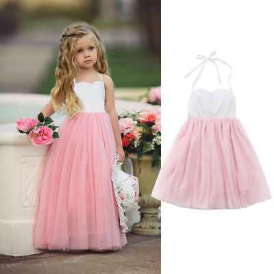 Pink Princess Dresses For Girls (Pink Princess Wedding Party Prom Dress Skirt New TutuDresses For Baby Girl 1-8Y)