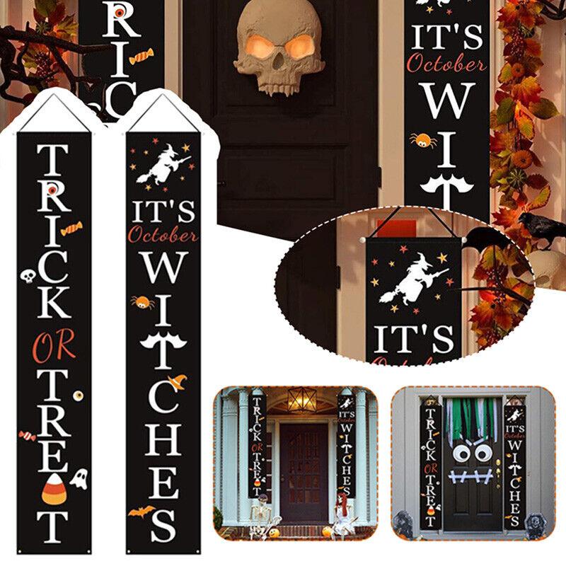 Outdoor Halloween Decorations Decor - Front Door Trick or Treat Banner Hanging