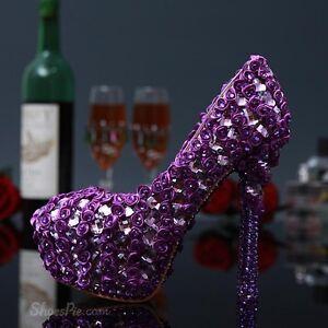 Chaussures neuves violet avec Fleurs & strass