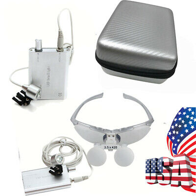 Usa Silver Dental Loupes 3.5x 420mm Surgical Binocular Led Head Light Lamp Case