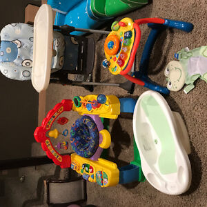 Lot(High chair, bouncer, walker, mattress)