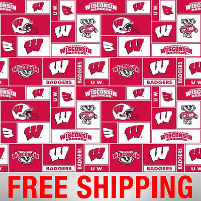 University of Wisconsin Badgers Fleece Fabric NCAA - WIS-012 - Free Shipping (Kids Badger Costume)