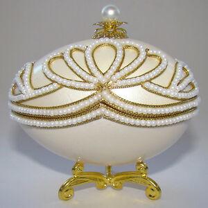 Boîte à bijoux oeuf en coquille style Faberge, Oeuf écrin à bijoux