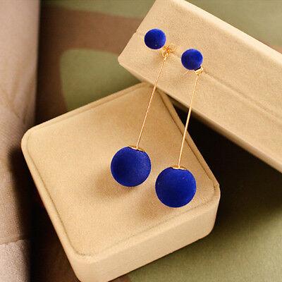 1 Pair Women Ball Double-sided Earrings Long Dangle Removable Ear Stud Jewelry Ball Dangle Earrings Jewelry