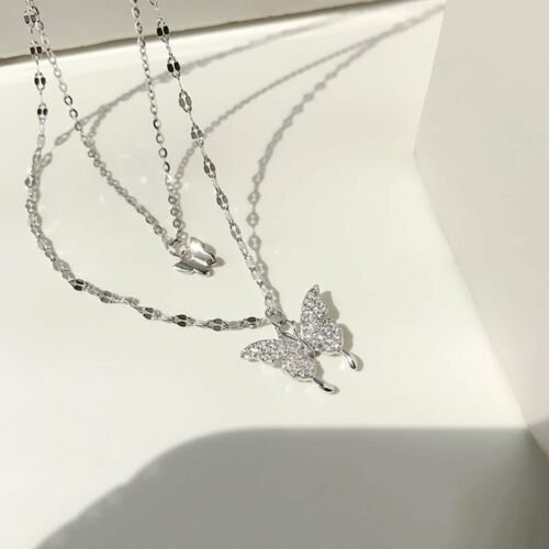 Charm 925 Silver Double Butterfly Zircon Necklace Clavicle Women Jewelry Gifts 4