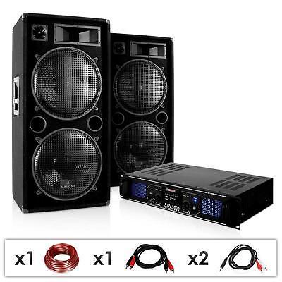 HIFI DJ PA SET 3000W ANLAGE 2x LAUTSPRECHER BOXEN MP3 PLAYER VERSTÄRKER USB SD