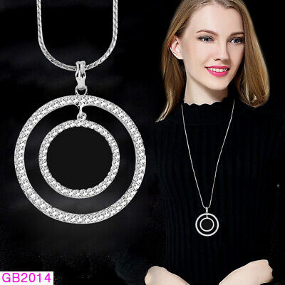 Costumes For Big Women (Big Hollow Double Circle Round Pendant Long Necklace For Women Costume)