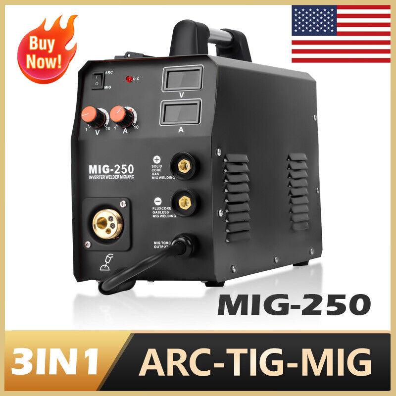 HZXVOGEN 3in1 MIG Welder ARC 200A 220V MMA Lift TIG Welding Machine Gas Gasless