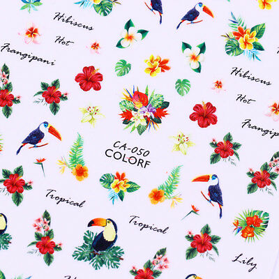 Flamingo Toucan 3D Nail Decals Tropical Flower Bird Nails Transfer Stickers Tips