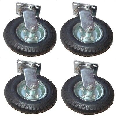 4 8in Air Tire Swivel Base Casters Heavy Duty Pneumatic New Free Shipping