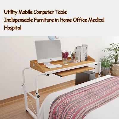 Mobile Overbed Table Rolling Laptop Cart Bed Computer Desk Hospital Adjustable