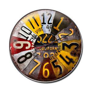 Quartz Vintage Automotive License Plate Steel Metal Garage Wall Clock 14