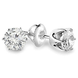 Diamond Stud Earrings1.15CTW Boucles d'Oreilles 14k Or Blanc