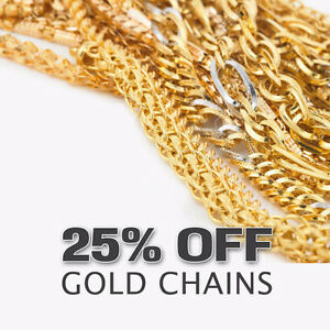 25% OFF ALL GOLD CHAINS, BRACELETS & EARRINGS
